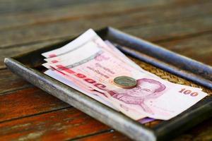 närbild av Thailand pengar foto