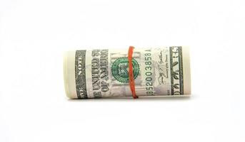 pengar var säkrade med ett gummiband foto