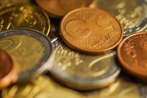 euromynt pengar. makrobakgrund. foto