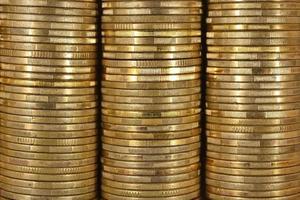 bakgrund av mynten på nära håll foto
