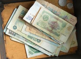 gamla sovjetiska pengar i rutan foto