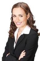 glad le affärskvinna, över vit foto