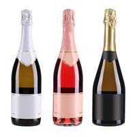 tre flaskor champagne. foto
