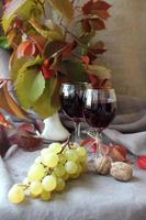 stilleben med vin och druvor ... foto