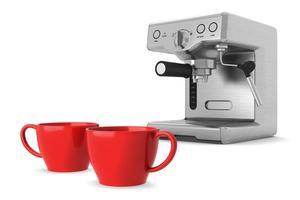 två röda koppar och kaffemaskin isolerad på vit bakgrund