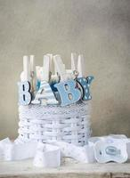 """ordet """"baby"""" på tygskydden foto"""