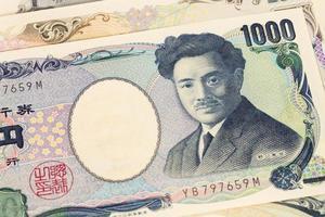 japansk pengar yensedelnärbild foto