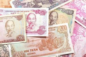 pengar från Vietnam, olika dongsedlar. foto