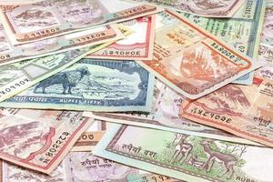 pengar från Nepal, olika rupier sedlar. foto