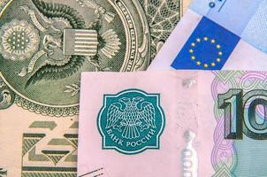 världspengar - dollar, euro, ryska rubel foto
