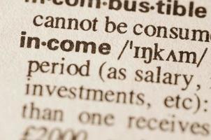 ordbok definition av ordet inkomst foto