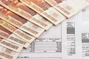 betalning av verktyg och ryska pengar foto