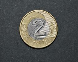 två zloty myntpolitiska pengar pln foto