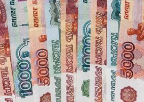 pengar ryska sedlar värdighet fem tusen och tusen rubel foto
