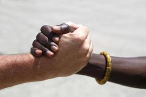 handskakning mellan en kaukasisk och en afrikansk foto