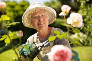 äldre kvinna som arbetar i trädgården