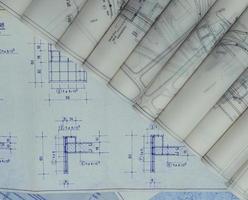gamla arkitektoniska planer foto