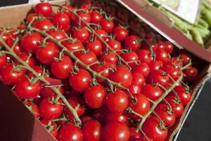 färska tomater som visas på butiken foto