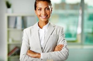 glad affärskvinna foto