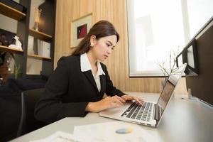asiatisk affärskvinna arbetar
