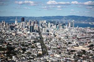 san francisco panoramautsikt från tvillingtopparna, Kalifornien USA foto