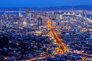 san francisco city från tvillingtopp foto