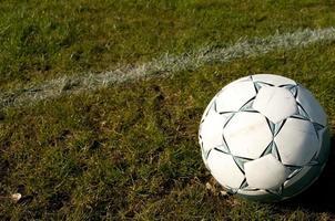 fotboll på gräset foto