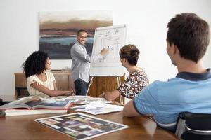 affärsman ger presentation till kollegor foto