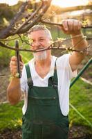 porträtt av en stilig trädgårdsman för äldre man
