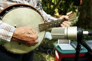 närbild av en banjo