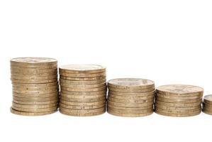 diagram med myntvaluta visar framgång och tillväxt i affärer
