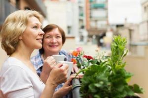 två mogna kvinnor som dricker kaffe foto