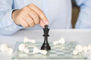 schackfigur, affärsidéstrategi, ledarskap, team och framgång