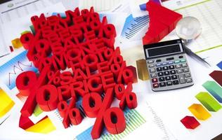 finans koncept, procent, naturlig färgglad ton foto