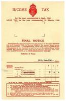 slutligt meddelande om brittisk inkomstskatt, 1940-41 foto