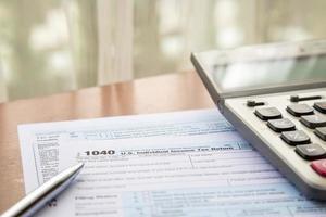 från 1040, oss individuell inkomstdeklaration foto