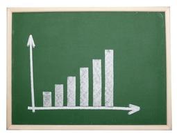 finansaffärsgraf på svarta tavlan ekonomi foto