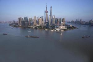 lujiazui runt vid Huangpu River-Shanghai finanscenter