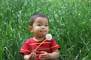spädbarn som blåser maskrosfrön foto