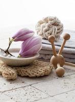 magnoliablommor för spa-behandling foto