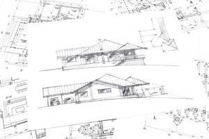 grafisk skiss av nytt hus foto