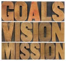 mål, vision och uppdrag foto