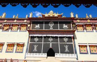 Songzanlin-templet i den zhongdian staden (shangri-la), Kina yunnan foto
