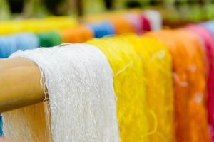 sidentråd i Asien, silkeproduktion foto