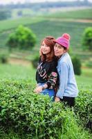 porträtt av två asiatiska vackra kvinnor på teplantage