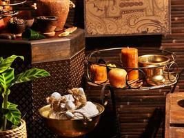 ayurvedisk spa-massage stilleben foto