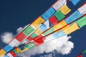 tibetansk bön som flödar flyger i vinden foto