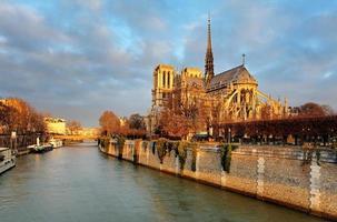 Notre Dame vid soluppgången - Paris, Frankrike