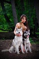 flicka med hundar vid skogen foto