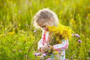 liten flicka med en bukett vildblommor foto